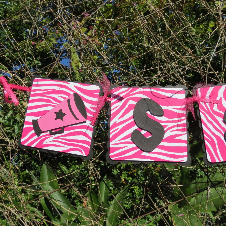 Cheerleader Megaphone Girl Hot Pink Zebra Happy