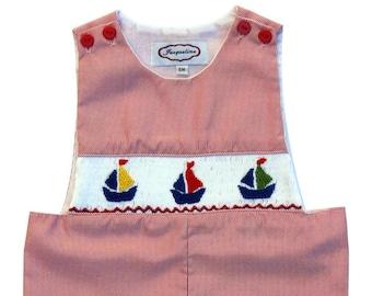 Hand Smocked Boys Red Striped Sailboat Jon Jon