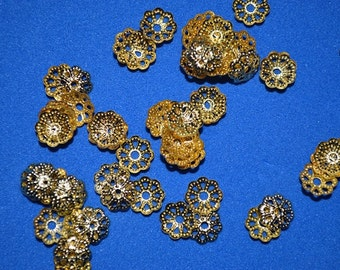 100 - 5-6mm Gold Plated Filligree bead caps (3010006)