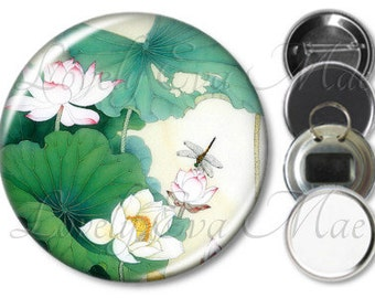 Japanese Floral with Dragonfly Pocket Mirror, Magnet, Bottle Opener Key Ring, Pin Back Button
