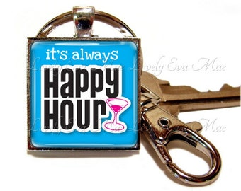 Alcohol Keychain, Funny Key Chain, Blue Key Ring, Martini Key Fob, Blue Keychain, Happy Hour Keychain with Clip, Key Fob with Clasp