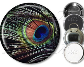 Black Peacock Feather Pocket Mirror, Peacock Magnet, Peacock Bottle Opener Key Ring, Pin Back Button, Peacock Mirror Make Up Mirror Keychain