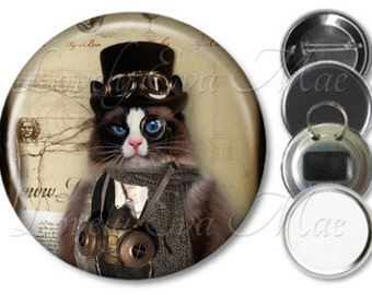 Steampunk Cat Pocket Mirror, Compact Mirror Refrigerator Magnet, Bottle Opener Key Ring, Pin Back Button Purse Mirror Cat Keychain, Cat Gift