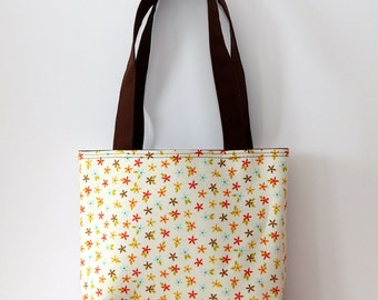 Mini tote with small flower print