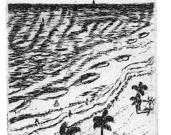 View of the Sea  - Original Intaglio Etching & Engraving, Hand-printed original print, Limited Edition