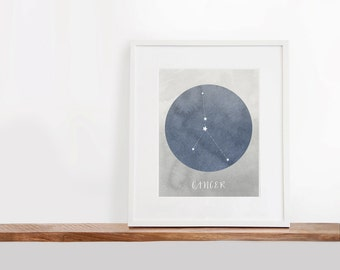 Cancer Zodiac Printable Art, 8x10 inches, Nursery Art, Constellation Art, Watercolor Art Print, Digital File