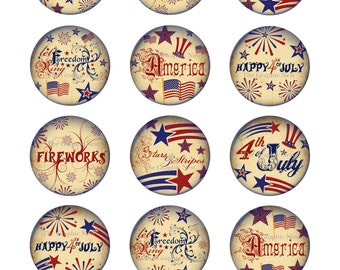 12 (2x2) inch 4th of July Circles. Digital download