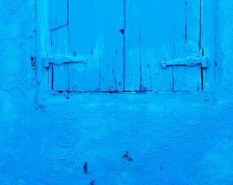 Blue Wall with Blue Shutters, Willemstad, Curacao, Caribbean, Fine Art Photograph for Your Home and Office Wall Decor