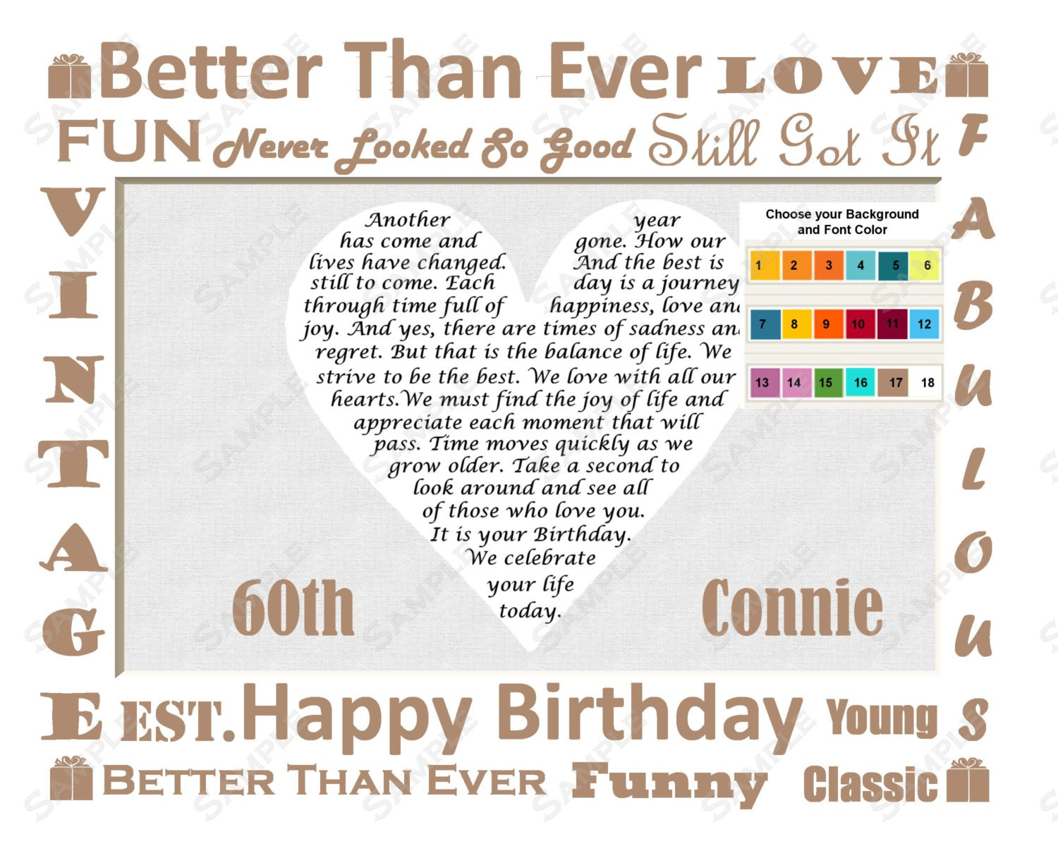 60th Birthday Gift Poem 60th Birthday Heart by ...