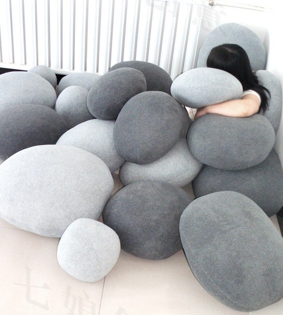 Items Similar To Set Of 6 Pebble Stone Pillows Beige Or