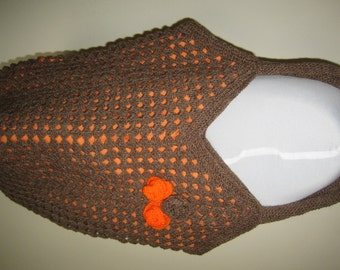 Brown Crochet Bag with Orange Lining & Flowers