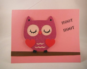 Owl Valentines Day Card, Anniversary Card, Love You Card