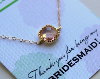 Dainty Gold Peach Necklace - Bridesmaid Gift Under 25 - Pink Wedding Jewelry - Champagne Blush Bridesmaid Necklace Gold Pink Blush Jewelry
