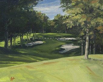 Golf Art Print. Golf Course Painting. Hickory Hills Golf Course (Ohio), Hole #8. Print of original oil painting.