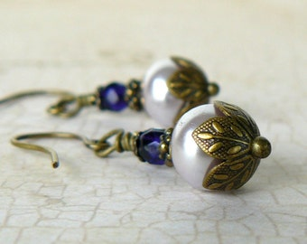 Pale Lavender Pearl Earrings, Purple and Lavender Dangles, Fairytale Inspired Jewelry, Vintage Style Jewelry