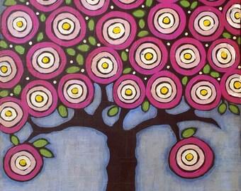 Raspberry folk art tree - original mixed media painting - retro - vintage