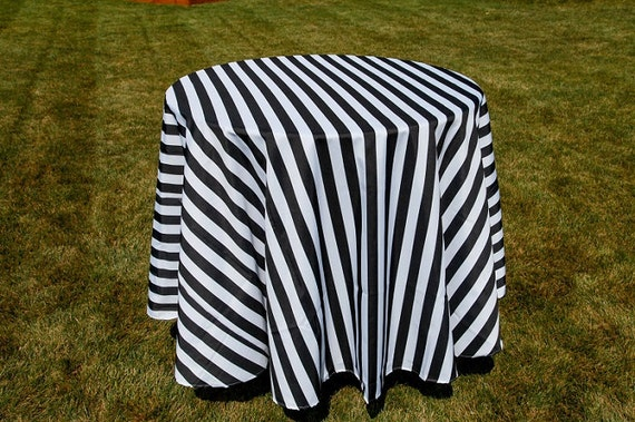 Black And White Striped Tablecloth Overlays 1 Inch Stripe