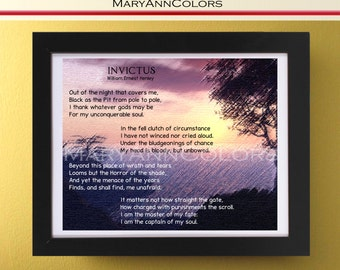 Invictus Poem Wall Art Printable, Sunset Painting Wall Art