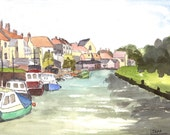 Queenborough Creek, Sheppey An Original Watercolour      Painting - Lovely Gift!