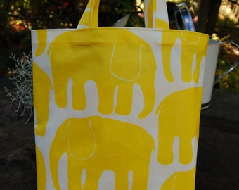 Yellow elephant oil cloth tote from Finland, 22x28cm
