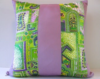 18x18 Pillow Cover Lavander and Green Vintage and upcycled fabric
