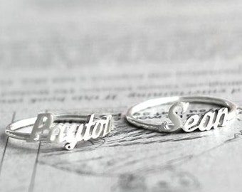 Name Ring - Personalized Sterling Silver Name Ring - Personalized Name Ring - Personalized handwriting Name Ring - Bridesmaid Gift