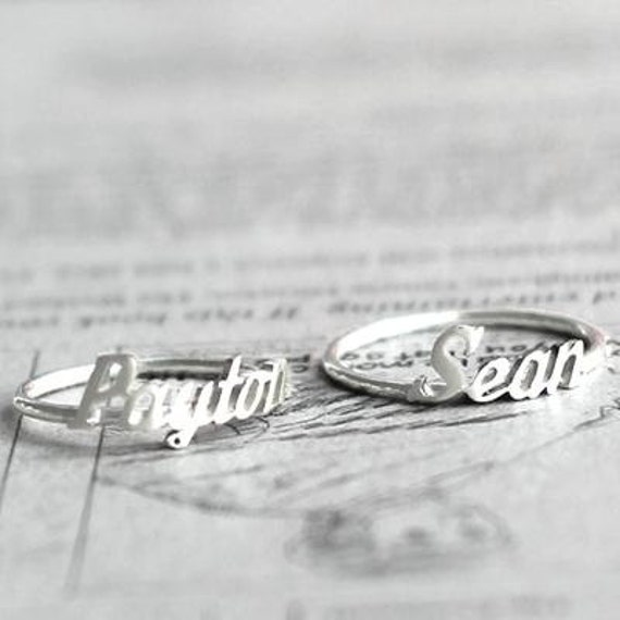 name ring personalized sterling silver name ring by