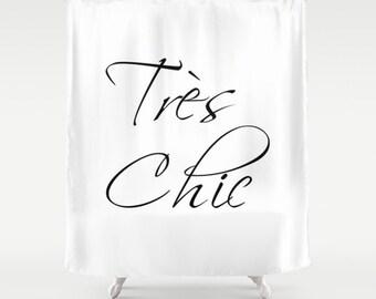 Paris Shower Curtain, Tres Chic, Paris Bathroom Decor, Black and White Shower Curtain, Paris Decor, Fabric Shower Curtain, Girls Bathroom