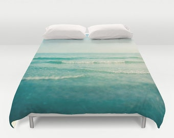 duvet cover, queen duvet, king duvet, full double duvet cover, ocean duvet, sea waves water coastal nautical mint aquamarine dreamy