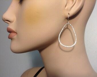 Silver Teardrop Earrings, Hammered Texture, Forged Fine Silver by LisaJStudioJeweler.
