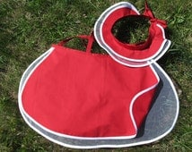 Discount 5USD from price. Handmade Red wedding apron + hat.100% cotton, tulle.Flirty wedding apron&cap Wedding accessories. Made in Europe
