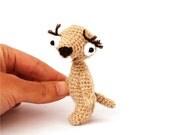 little sloth, stuffed lazy animal, amigurumi beige sloth, funny gift, crochet sloth, beige, tiny stuffed animal, mini sloth, plush sloth
