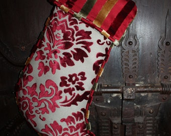 Velvet Flocked Stocking - Ambassodor Lined in Malmore Silk Velvet