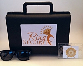 Ring Security Briefcase, Badge and Sunglass Set (gold) -- ring bearer gift, ring agent, ring bearer, Bling Security, Pillow Alternative
