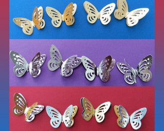 Decorative double layer butterflies.3 choices Gold/Silver Packs of 20. Weddings, Crafts