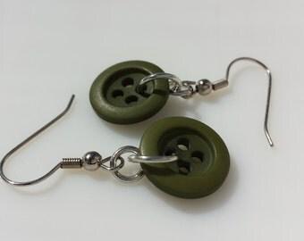 Dark Green Button Earrings