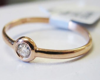 Single Stone 14K Gold Diamond Stackable Bezel Ring 6J7963