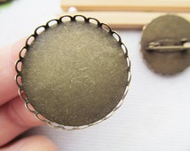 Large Antique Bronze Blank Brooch/Breastpin Charm Finding,Base Setting Tray Bezel,fit 30mm Cabochon,Clip Safety Pin/Brooch Backside