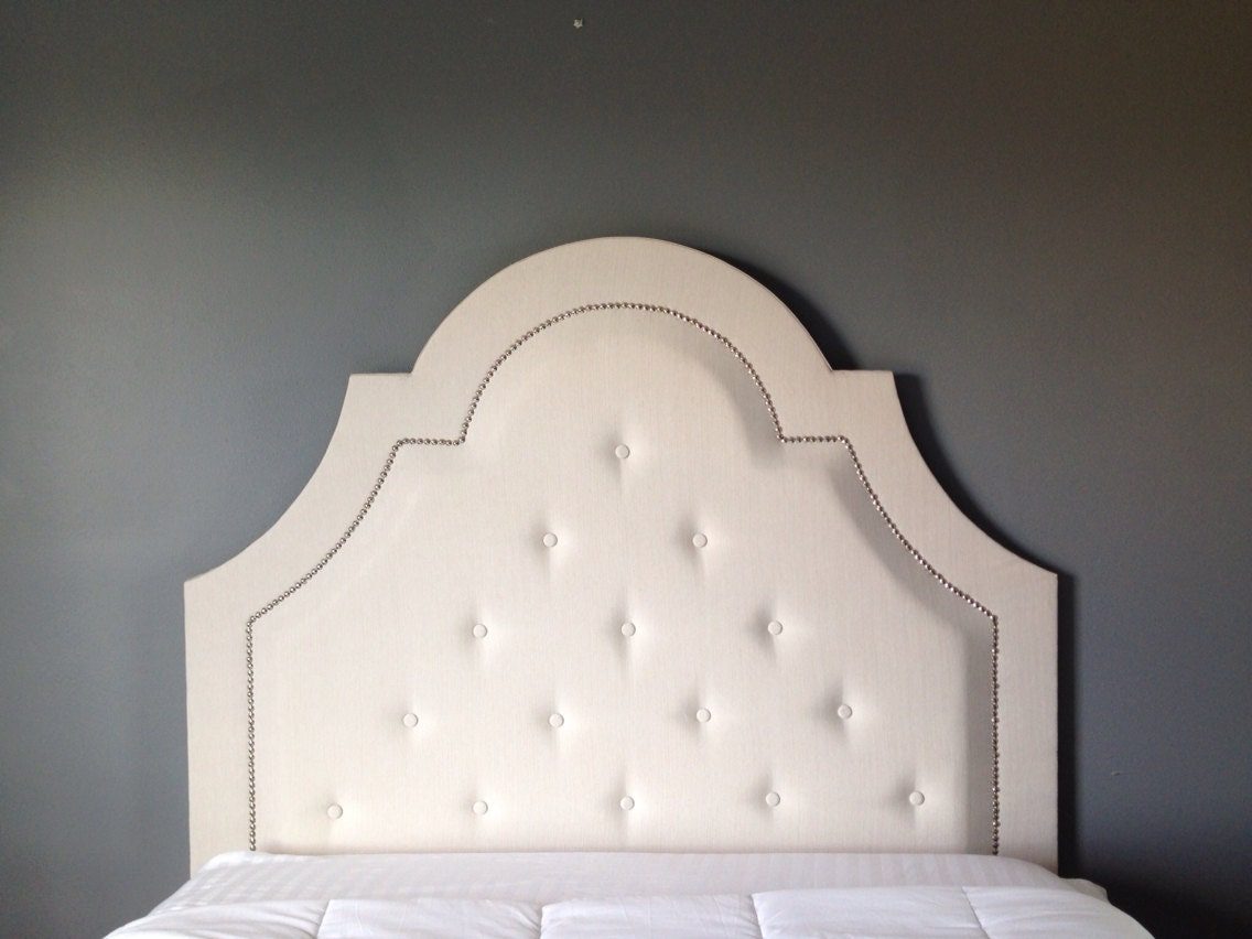 custom tufted headboard diamond button pattern with by QHomeGoods