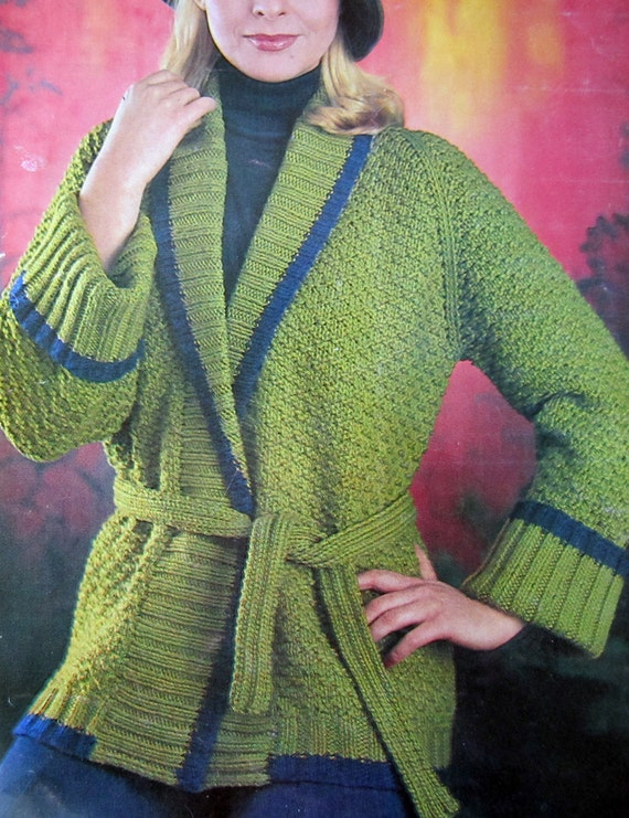 Knitting Pattern Wrap Cardigan : WRAP CARDIGAN Jacket Knitting Pattern Chunky Weight by Vintorium