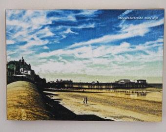 "Cromer pier and beach photo print mounted on wood. 5x7"""