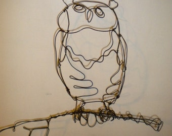 Owl--3-D steel wire sculpture