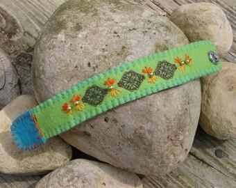 Lime Green Wool Felt Cuff Bracelet With Metal Medallions