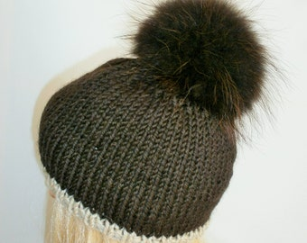 Dark Brown Hat, Alpaca Wool Hat, Winter Cap,Womans Hat , Natural Fur Pompon,Hat Fur Pom Pom,Hand Knitted Hat,Handmade Cap