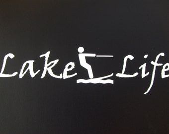 Lake Life Water Skiing Wake boarding Boat Truck Car Vinyl Window Decal Sticker #348