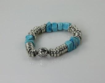 Howlite& 925 Silver Bracelet, Gemstone Bracelet, 925 Sterling Silver Bracelet, Beaded Gemstone Bracelet, 925 Silver Flower Magnetic Clasp