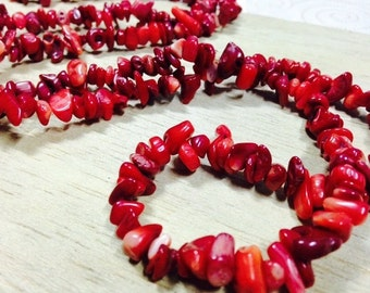 Coral Chips Beads Strand, Size 5-8 mm (GC 04)