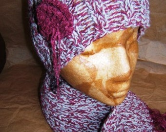 Hand knit, alpaca and chenille, womens' hat and scarf set