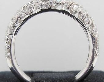 Solid 14K White Gold Fashion  Wedding Band / Diamond  Ring