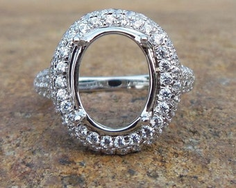 Solid 14K White Gold 9X12MM Oval Shape Fashion Semi Mount Ring / Diamond Ring